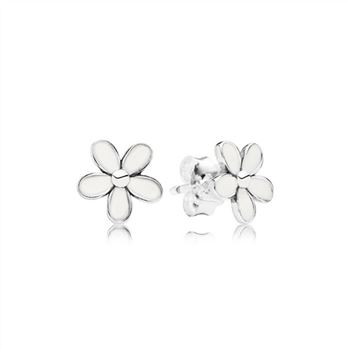 Pandora Darling Daisies Stud Earrings, White Enamel 290538EN12