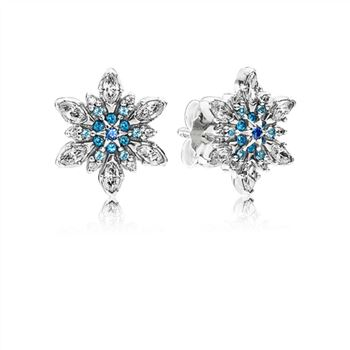 Pandora SNOWFLAKE SILVER STUD EARRINGS WITH MIXED BLUE SHADES OF CRYSTAL AND CLEAR CUBIC ZIRCONIA 290590NBLMX