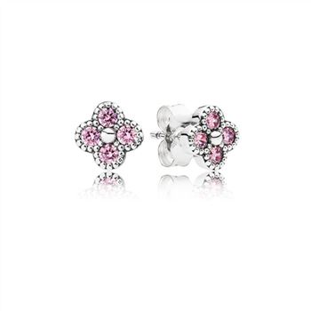 Pandora Oriental Blossom Stud Earrings, Pink CZ 290647PCZ