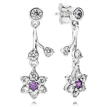 Pandora Forget Me Not Drop Earrings, Purple & Clear CZ 290691ACZ