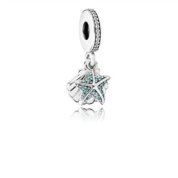 Pandora Tropical Starfish & Sea Shell Dangle Charm, Frosty Mint & Clear CZ 792076CZF