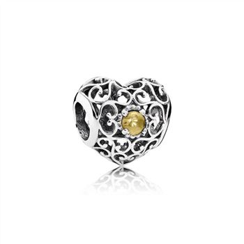 Pandora November Signature Heart Charm, Citrine 791784CI