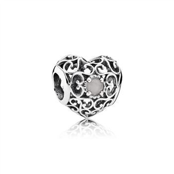 Pandora June Signature Heart Charm, Grey Moonstone 791784MSG