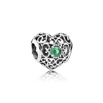 Pandora May Signature Heart Charm, Royal Green Crystal 791784NRG