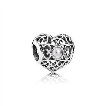 Pandora April Signature Heart Charm, Rock Crystal 791784RC