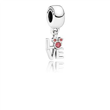 Pandora Disney Mickey LOVE silver dangle with red cubic zirconia 791448CZR