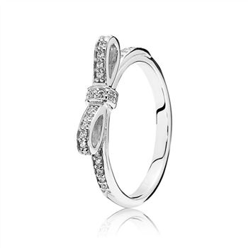 Pandora Sparkling Bow Ring, Clear CZ 190906CZ