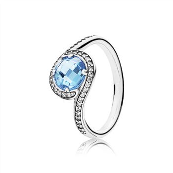 Pandora Radiant Embellishment Ring, Sky-Blue Crystal & Clear CZ 190968NBS