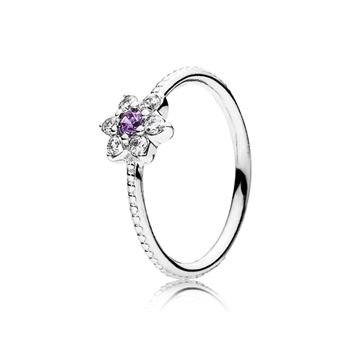 Pandora Forget Me Not Ring, Purple & Clear CZ 190990ACZ