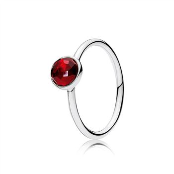 Pandora July Droplet Ring, Synthetic Ruby 191012SRU