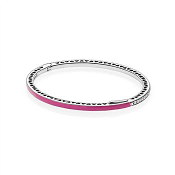 Pandora Radiant Hearts of PANDORA Bangle Bracelet, Radiant Orchid Enamel & Clear CZ 590537EN69
