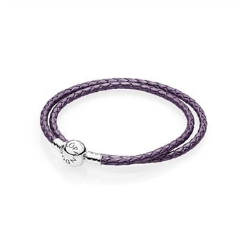 Pandora Purple Braided Double-Leather Charm Bracelet 590745CPE-D