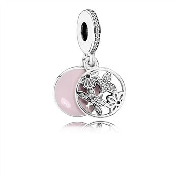 Pandora Springtime Dangle Charm, Soft Pink Enamel & Clear CZ 791843EN40