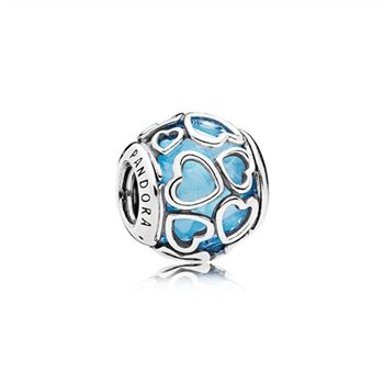 Pandora Encased in Love Charm, Sky Blue Crystal 792036NBS