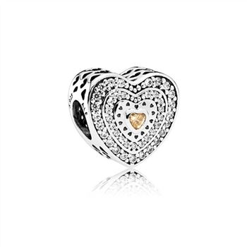 Pandora Lavish Heart Charm, Fancy-Colored & Clear CZ 792081FCZ